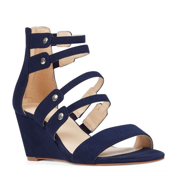 Nine West Ilana Open Toe Cage Sandals ($50) ❤ liked on Polyvore featuring shoes, sandals, navy fabric, open toe sandals, nine west sandals, navy wedge shoes, cage sandals and wedge sandals