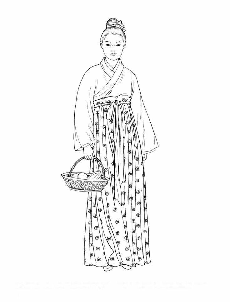 Song Dynasty. This commoner wears everyday attire consisting of a wrap robe and a high-waisted long skirt circled at the waist by a knotted sash. Her single-bun hairstyle is decorated with a simple ribbon. [Chinese Fashions (Dover Fashion Coloring Book)  by  Ming-Ju Sun.]