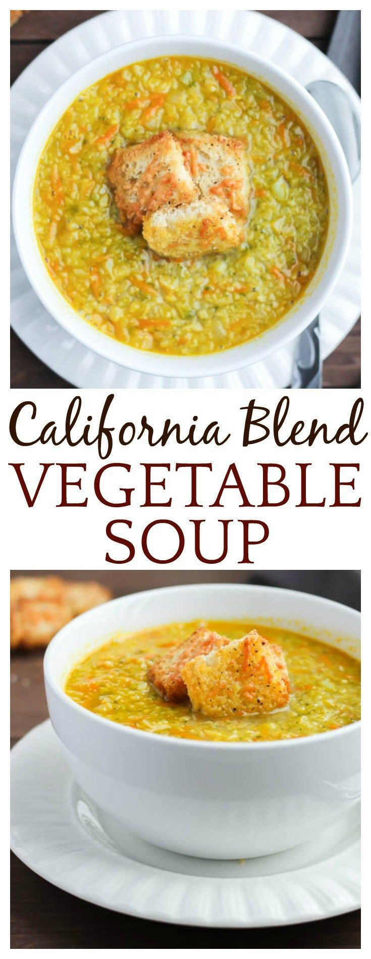 Cauliflower, broccoli, and carrots come together deliciously in this California Blend Vegetable Soup topped with Parmesan Croutons! | vegetarian soup recipe gluten free low carb #soup #DLB - Very versatile recipe. Add meat and preferred spices if desired.