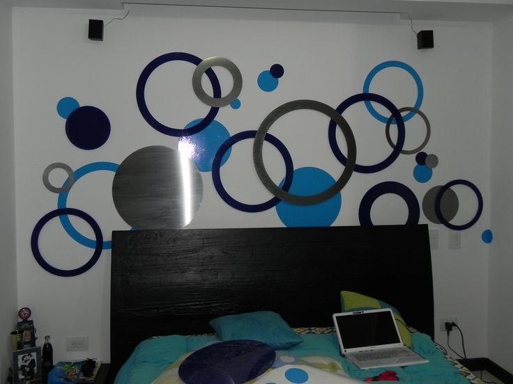 Decoración dormitorio / Círculos/ Combinación de materiales /Tendencia / Decoración de interiores / Acero / Acrílico / Plotter /   Pregúntanos por más: http://173estudiocreativo.com/