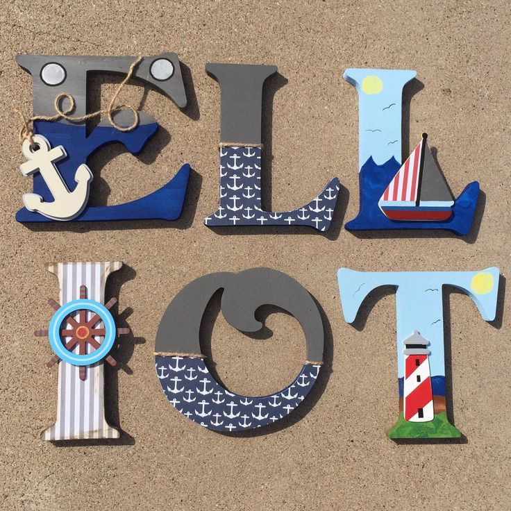 A personal favorite from my Etsy shop https://www.etsy.com/listing/253086628/nautical-wooden-letters-nautical-nursery