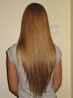 long layered hair v shape back view - Google Search