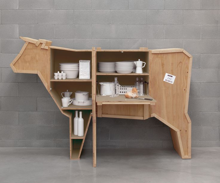 Sending Cow Animal Wood Crate Furniture by Seletti