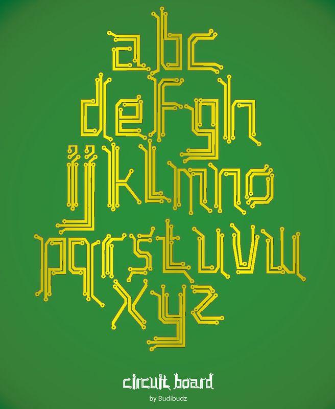Circuit Board Font by budibudz.deviantart.com