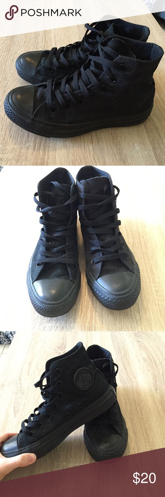 All black hi-top Converse In nearly perfect condition. I love them but I rarely wear them, would prefer the low top version. Make an offer! Converse Shoes Sneakers