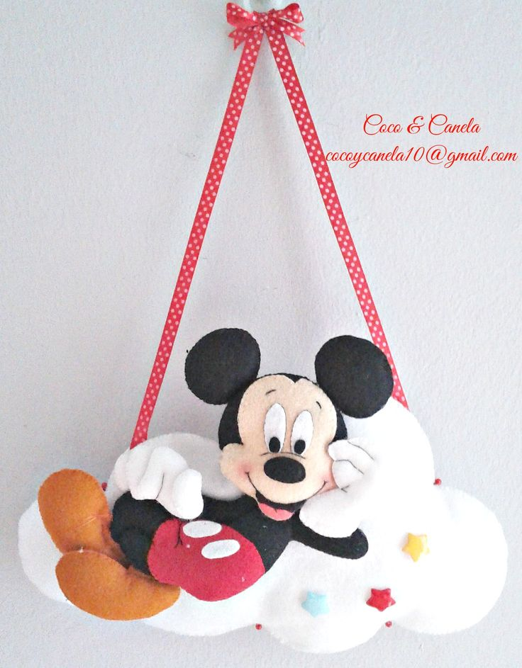 Mickey Mouse Name wall decor Felt Name banner Enfeite porta