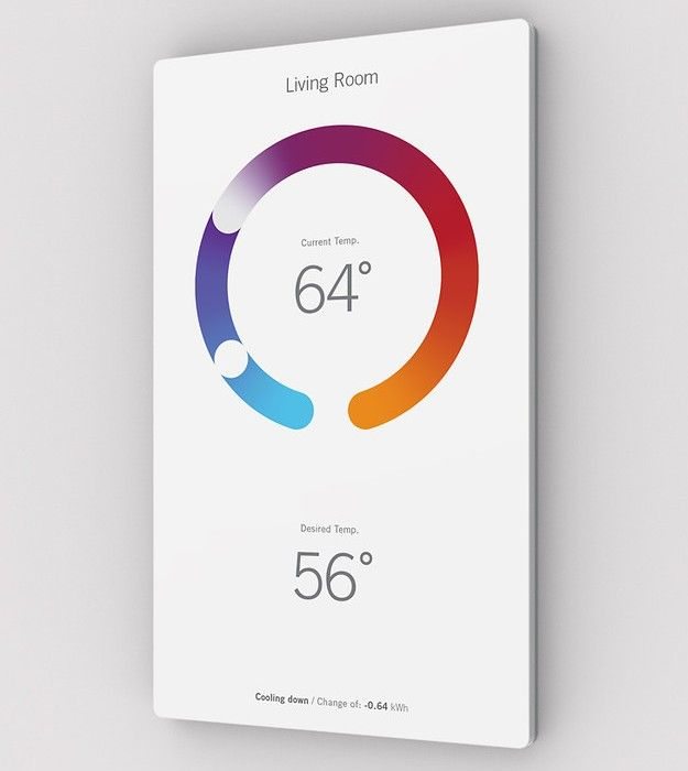 A new home thermostat displays the temperature through ever-changing colorful infographics (I really, really want one).