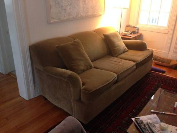 Couch for sale - $150 (Montclair)  Pottery barn sleeper sofa for sale Moss color Velvet