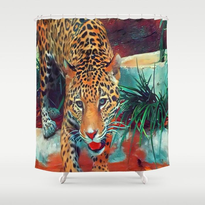 Customize your bathroom decor with this unique Jaguar shower curtain designed by Celeste Sheffey