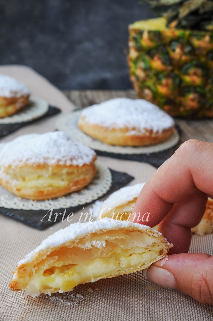 Sfogliatine all'ananas e crema pasticcera vickyart arte in cucina