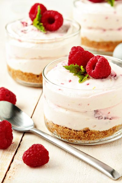 A simple no bake cheesecake made with cream cheese, whipped topping, lemon zest and raspberries.