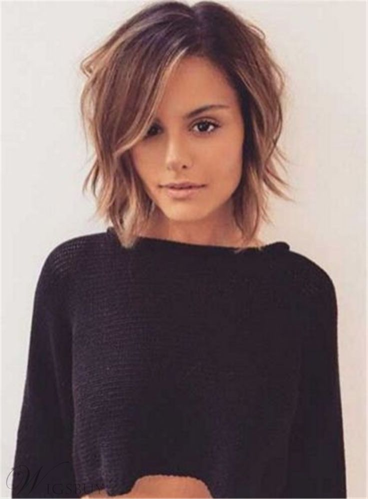 Layered Short Tilted Bob Hairstyle Straight Synthetic Hair Lace Front Cap Women Wigs 12 Inches Bob Hairstyles Choppy Bob Hairstyles Hair Styles