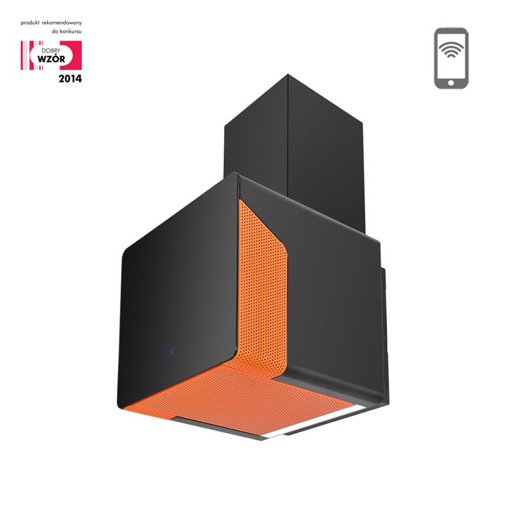 Okap kominowy Ciarko Design Cube Neon pomarańczowy http://www.sklep.ciarkodesign.pl/e-sklep/okapy-kominowe/cube-neon-orange-detail #DESIGN #KITCHEN #OKAP #HOOD