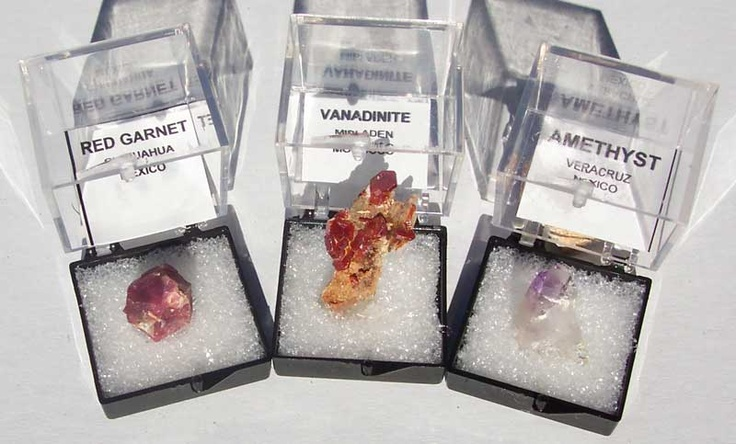 micromounted minerals with LABELS