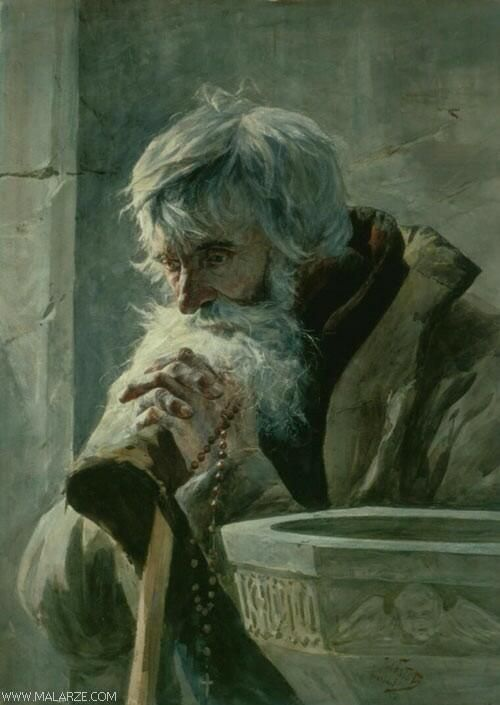 Julian Falat - Praying Old Man, oil on canvas, National Museum, Warsaw