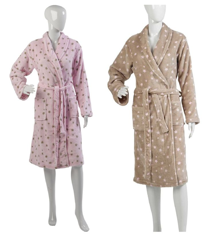 Ladies Polka Dot Dressing Gown S-XL (Blue or Cream) | Dressings ...