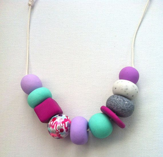 Handmade hand painted polymer clay beaded necklace by SiennaandKip, $15.00