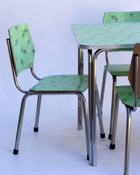 Vintage Formica Kitchen Table And Chair Set With Floral Pattern