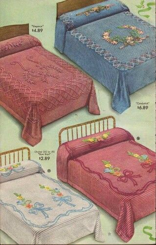 Chenille bedspreads from 1942 Sears catalog