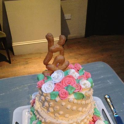 Pistachio & Strawberry , our own wedding cake