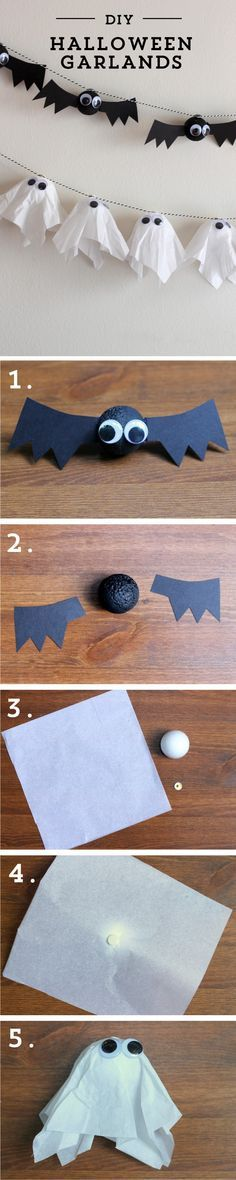 These easy to make #diy #Halloween garlands will add festive fun to your party!
