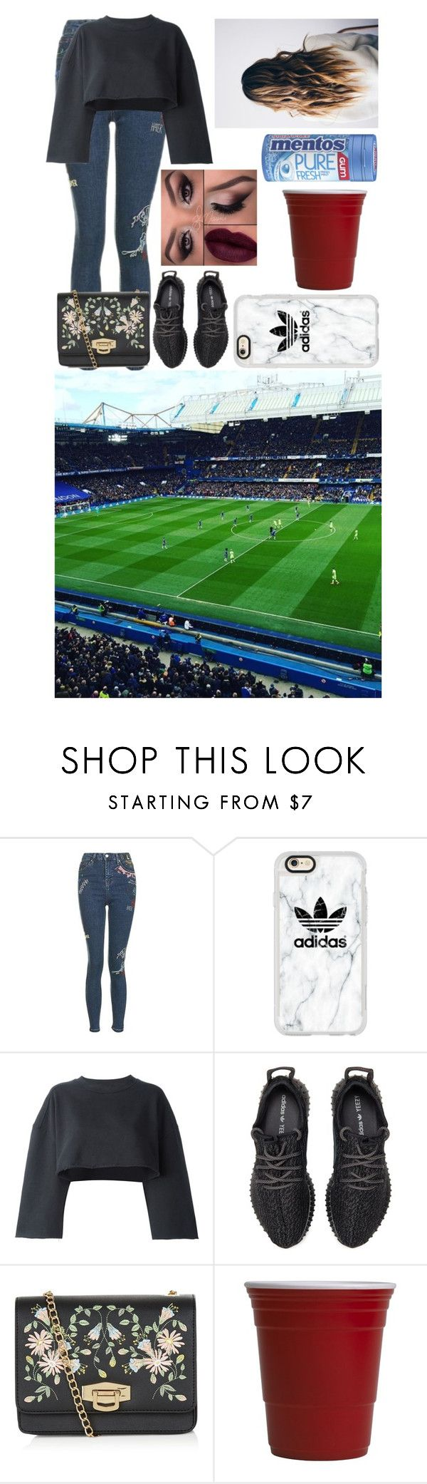 """""""Going To A Football Match With The Sidemen"""" by glitterbelle11 ❤ liked on Polyvore featuring Topshop, Casetify, adidas Originals, adidas, New Look and Red Cup Living"""