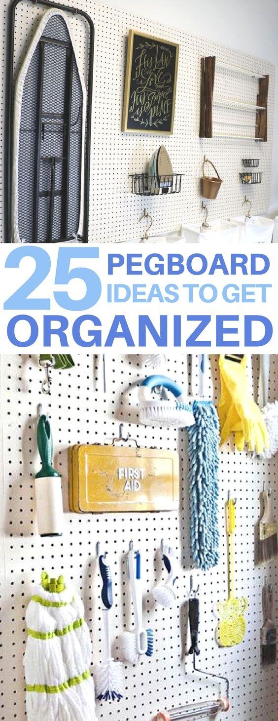 Cheap & easy organization ideas using pegboards! diy home decor, diy room decor, organization hacks, home organization