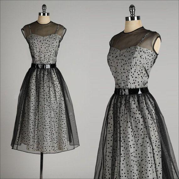 ➳ vintage 1940s 2 pc. dress * black/white polka dot acetate * rhinestone studded daisy appliques * adjustable straps * black mesh tie-back