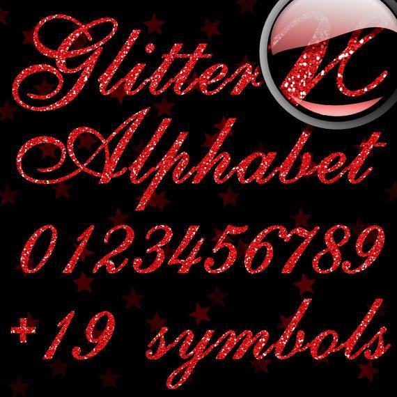 Red Glitter Alphabet Digital Glitter Alpha Red by icklebitsdesigns