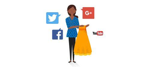 Η Λία κρατά ένα φόρεμα vintage που περιβάλλεται από λογότυπα κοινωνικών μέσων.