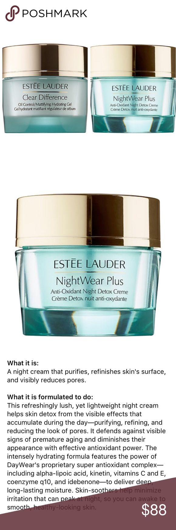 Estee lauder: clear difference and nightwear plus Estee lauder: clear difference oil control/mattifying hydrating gel bundled with nightwear plus antioxidant night detox creme Estee Lauder Makeup Face Primer