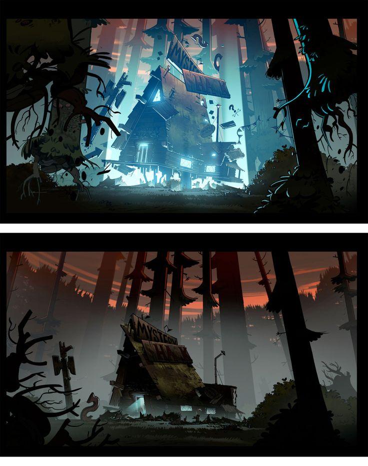 Gravity Falls | Illustrator: Jeffrey Thompson #conceptart #background #animation