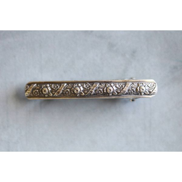 French Barrette Sterling Silver Botanical Foral Rustic Embossed... ($35) ❤ liked on Polyvore featuring accessories, hair accessories, barrettes & clips, grey, hair clip accessories, floral hair clips, sterling silver hair clip, floral hair accessories and barrette hair clip