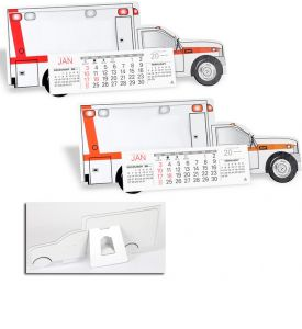 Product: 7D209 Desktop Truck Calendar, Emergency Squad Ambulance Basic custom imprint setup & PDF proof included! Make your company stand out from the fleet with this die cut Emergency Squad Ambulance cardboard desk calendar. Perfect promotional calendar for ambulance and EMT companies. Warwick / 431