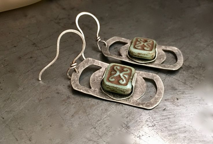 Rustic silver earrings with green ancient scrolls Czech glass by MetalingSusie on Etsy