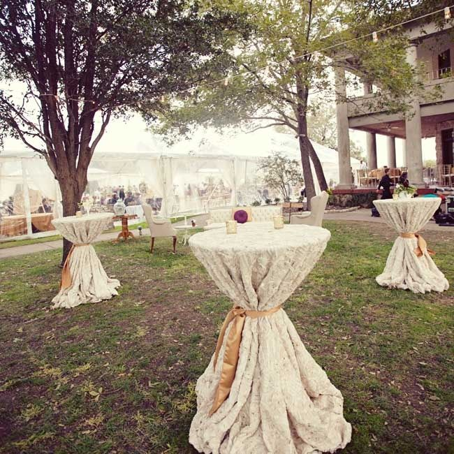 Cocktail Tables Were Set Up Outside The Reception Tent And Dressed In Rich Rosette
