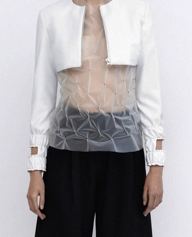 Sheer top with gathers + cropped jacket with shirred cuffs & cut outs; fabric manipulation; sewing // J.W. Anderson