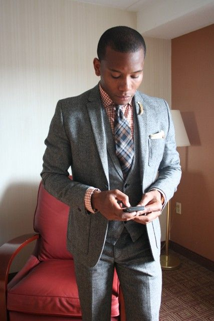 Plaid Wool tie 3 piece suit H&M style fashion