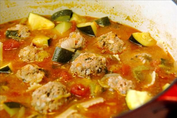 Best Albondigas Soup (chorizo meatball and zucchini)