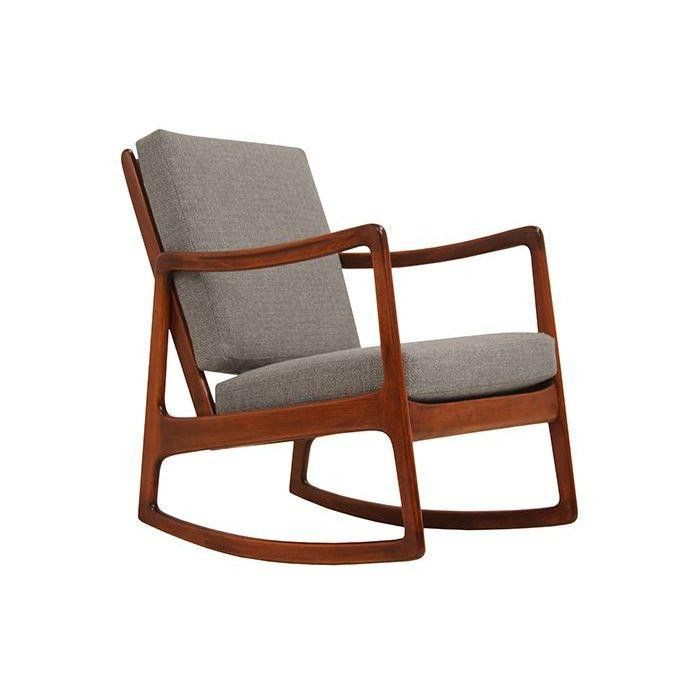 ole wanscher danish walnut rocking chair on chairishcom midcentury