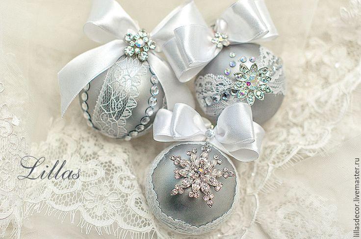 """Купить Набор из 3 елочных шаров """"Сверкающий иней"""" - серебряный, новогодние игрушки, Новый Год"""
