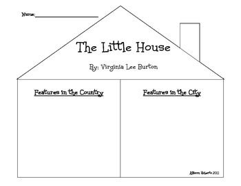 "Graphic organizer created to go along with ""The Little House"" by Virginia Lee Burton. Graphic organizer compares features in the country to features in the city."