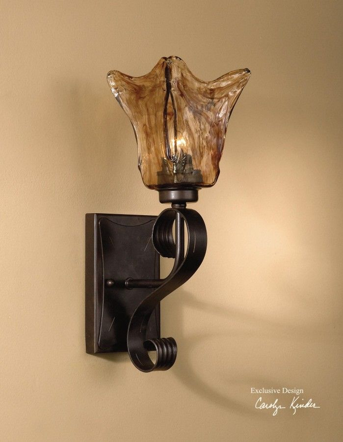 Vetraio European Iron U0026 Glass Electric Wall Sconce   Treasurecombers