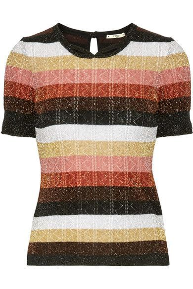 Fendi - Metallic Striped Wool-blend Sweater