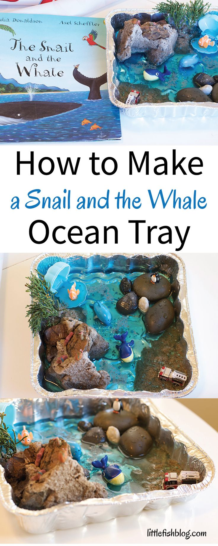 "Here I'm sharing my idea for a Snail and the Whale Ocean Tray. I expect you might have gathered by now that I LOVE everything about the ocean and I think this has rubbed off on my children too! The ocean makes for such a magical and fascinating backdrop for children's games and stories, don't you...</p><p><a class=""more-link"" href=""http://littlefishblog.com/make-snail-whale-ocean-tray/"">Read..."