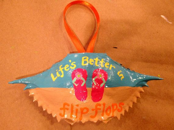 Hand Painted Flip Flop Crab Shell  by ACustomCreation on Etsy, $15.00