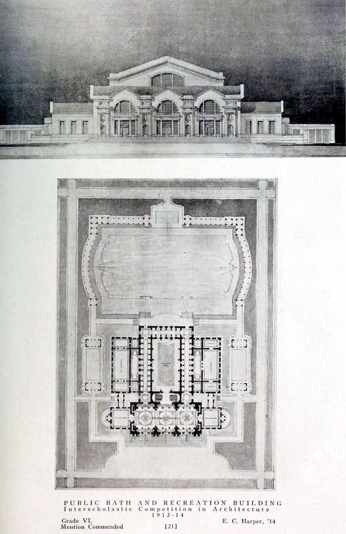 Competition Design for a Public Bath and Recreation Building