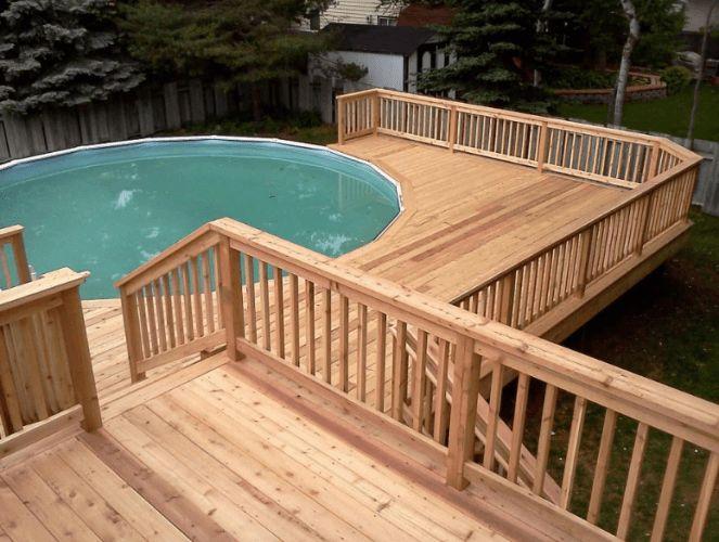 11+ Piscinas acima do solo com deck (Fotos impressionantes)   – Pool