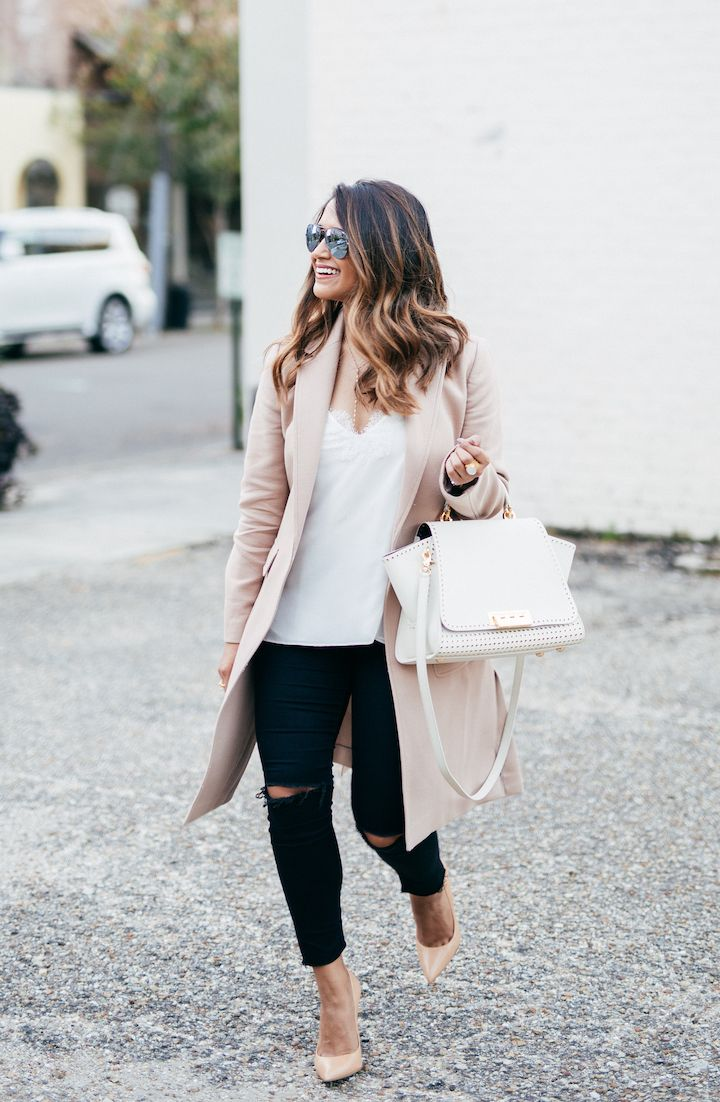 haute off the rack, zac zac posen handbag, black ripped jeans, fall outfit, nude pumps, white lace cami, blush coat, women's fashion, brunette ombre hair, street style