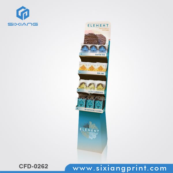 4 Trays Corrugated Cardboard Display Stand For Chocolate Snack
